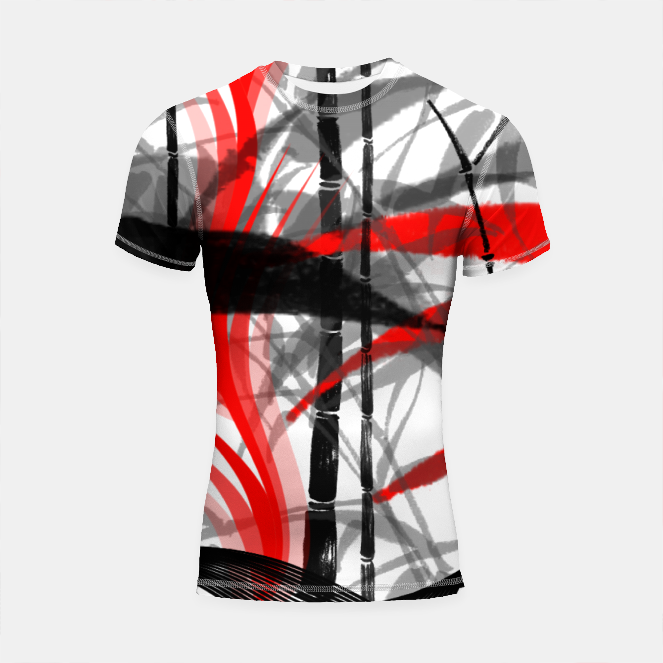 Image of red black grey silver white bamboo abstract digital painting Shortsleeve rashguard - Live Heroes