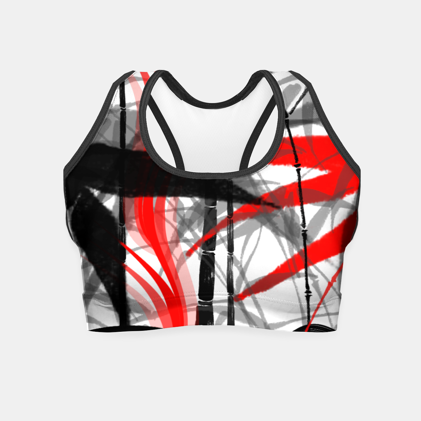 Image of red black grey silver white bamboo abstract digital painting Crop Top - Live Heroes