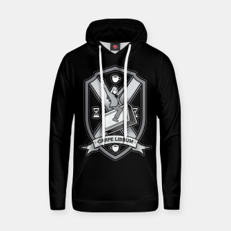 Thumbnail image of Carpe Librum Bookish Coat Of Arms Librarian Bookworm Hoodie, Live Heroes