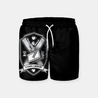 Thumbnail image of Carpe Librum Bookish Coat Of Arms Librarian Bookworm Swim Shorts, Live Heroes