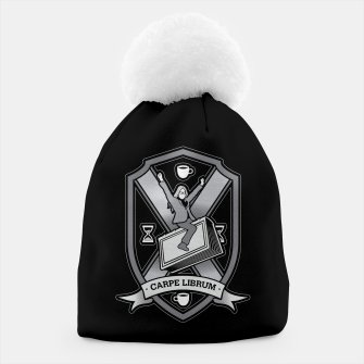 Thumbnail image of Carpe Librum Bookish Coat Of Arms Librarian Bookworm Beanie, Live Heroes