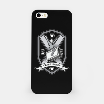 Thumbnail image of Carpe Librum Bookish Coat Of Arms Librarian Bookworm iPhone Case, Live Heroes