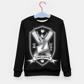 Thumbnail image of Carpe Librum Bookish Coat Of Arms Librarian Bookworm Kid's sweater, Live Heroes
