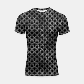 Thumbnail image of Leafed Palms in Black and Silver Vintage Faux Foil Art Deco Vintage Foil Pattern Shortsleeve rashguard, Live Heroes