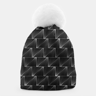 Thumbnail image of Diagonal Triangles in Black and Silver Vintage Faux Foil Art Deco Vintage Foil Pattern Beanie, Live Heroes