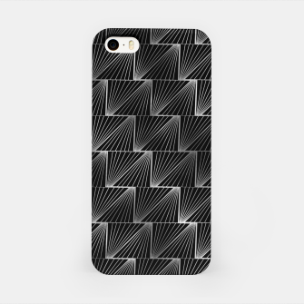 Thumbnail image of Diagonal Triangles in Black and Silver Vintage Faux Foil Art Deco Vintage Foil Pattern iPhone Case, Live Heroes