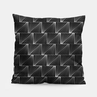 Thumbnail image of Diagonal Triangles in Black and Silver Vintage Faux Foil Art Deco Vintage Foil Pattern Pillow, Live Heroes