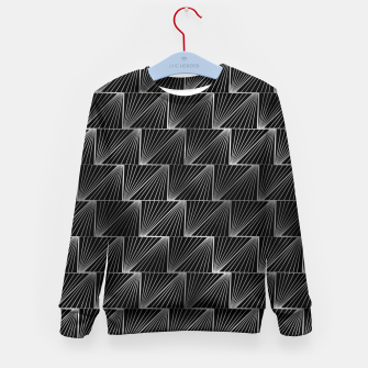 Thumbnail image of Diagonal Triangles in Black and Silver Vintage Faux Foil Art Deco Vintage Foil Pattern Kid's sweater, Live Heroes