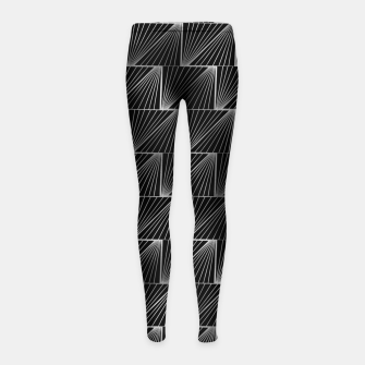 Thumbnail image of Diagonal Triangles in Black and Silver Vintage Faux Foil Art Deco Vintage Foil Pattern Girl's leggings, Live Heroes