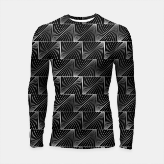 Thumbnail image of Diagonal Triangles in Black and Silver Vintage Faux Foil Art Deco Vintage Foil Pattern Longsleeve rashguard , Live Heroes