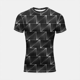 Thumbnail image of Diagonal Triangles in Black and Silver Vintage Faux Foil Art Deco Vintage Foil Pattern Shortsleeve rashguard, Live Heroes