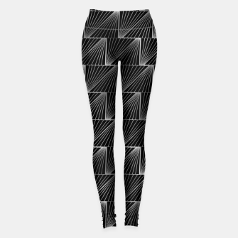 Thumbnail image of Diagonal Triangles in Black and Silver Vintage Faux Foil Art Deco Vintage Foil Pattern Leggings, Live Heroes