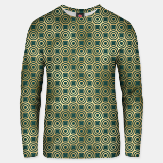 Miniatur Teal and Gold Vintage Circles Pattern Unisex sweater, Live Heroes