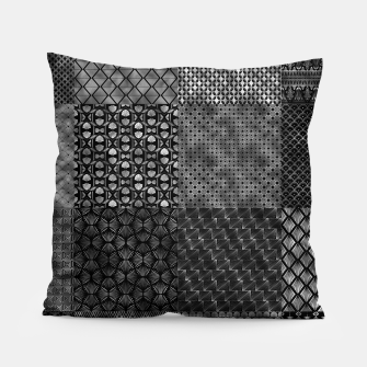 Thumbnail image of Large Silver and Black Vintage Art Deco Quilt Pattern Pillow, Live Heroes