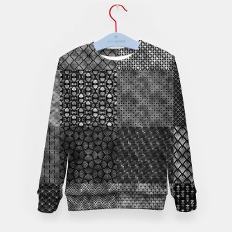 Thumbnail image of Large Silver and Black Vintage Art Deco Quilt Pattern Kid's sweater, Live Heroes