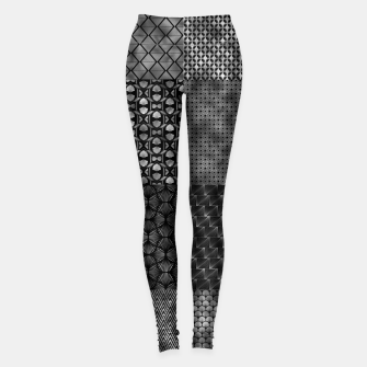Thumbnail image of Large Silver and Black Vintage Art Deco Quilt Pattern Leggings, Live Heroes