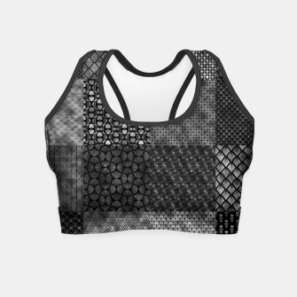 Thumbnail image of Large Silver and Black Vintage Art Deco Quilt Pattern Crop Top, Live Heroes