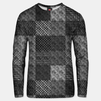 Thumbnail image of Silver and Black Vintage Art Deco Quilt Pattern Unisex sweater, Live Heroes
