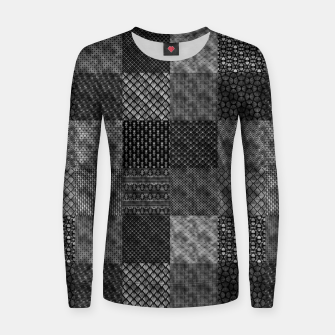 Thumbnail image of Silver and Black Vintage Art Deco Quilt Pattern Women sweater, Live Heroes