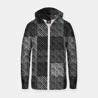 Thumbnail image of Silver and Black Vintage Art Deco Quilt Pattern Zip up hoodie, Live Heroes