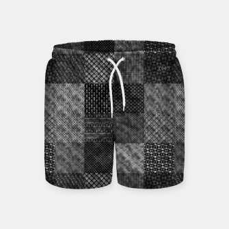 Thumbnail image of Silver and Black Vintage Art Deco Quilt Pattern Swim Shorts, Live Heroes