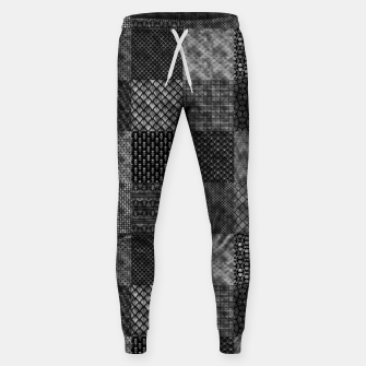 Thumbnail image of Silver and Black Vintage Art Deco Quilt Pattern Sweatpants, Live Heroes