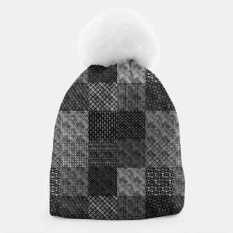 Thumbnail image of Silver and Black Vintage Art Deco Quilt Pattern Beanie, Live Heroes