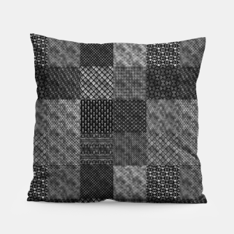 Thumbnail image of Silver and Black Vintage Art Deco Quilt Pattern Pillow, Live Heroes