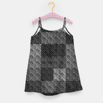 Thumbnail image of Silver and Black Vintage Art Deco Quilt Pattern Girl's dress, Live Heroes
