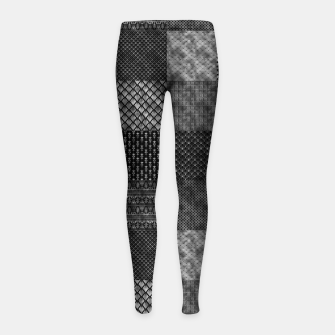 Thumbnail image of Silver and Black Vintage Art Deco Quilt Pattern Girl's leggings, Live Heroes