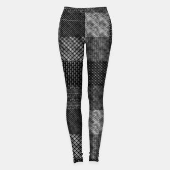 Thumbnail image of Silver and Black Vintage Art Deco Quilt Pattern Leggings, Live Heroes