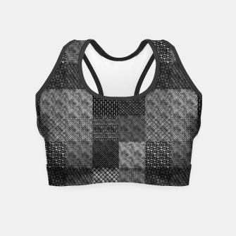 Thumbnail image of Silver and Black Vintage Art Deco Quilt Pattern Crop Top, Live Heroes