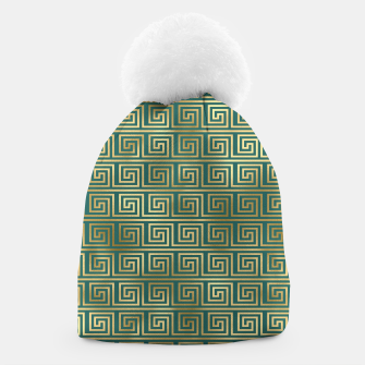 Thumbnail image of Teal and Gold Vintage Art Deco Greek Key Pattern Beanie, Live Heroes