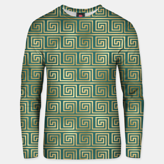 Thumbnail image of Teal and Gold Vintage Art Deco Greek Key Pattern Unisex sweater, Live Heroes