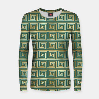 Thumbnail image of Teal and Gold Vintage Art Deco Greek Key Pattern Women sweater, Live Heroes