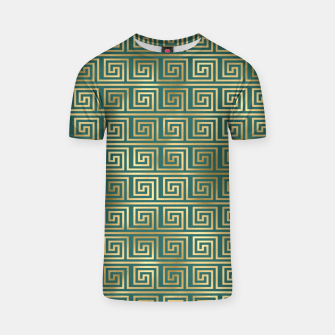 Thumbnail image of Teal and Gold Vintage Art Deco Greek Key Pattern T-shirt, Live Heroes