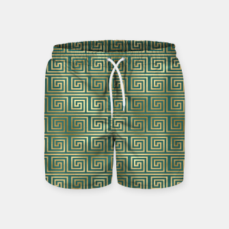 Thumbnail image of Teal and Gold Vintage Art Deco Greek Key Pattern Swim Shorts, Live Heroes
