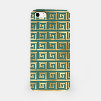 Thumbnail image of Teal and Gold Vintage Art Deco Greek Key Pattern iPhone Case, Live Heroes