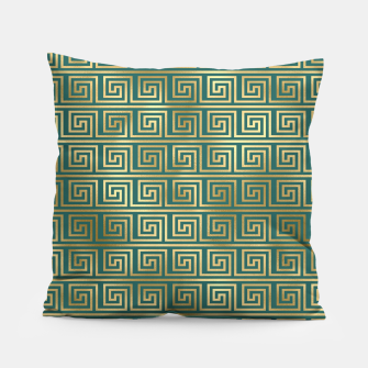 Thumbnail image of Teal and Gold Vintage Art Deco Greek Key Pattern Pillow, Live Heroes