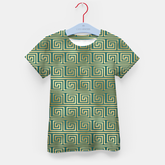 Thumbnail image of Teal and Gold Vintage Art Deco Greek Key Pattern Kid's t-shirt, Live Heroes