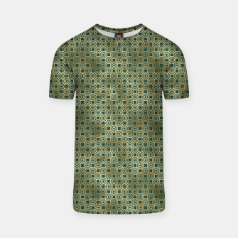 Miniatur Teal and Gold Vintage Circles Pattern T-shirt, Live Heroes