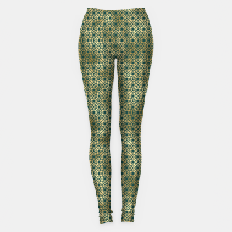 Miniatur Teal and Gold Vintage Circles Pattern Leggings, Live Heroes