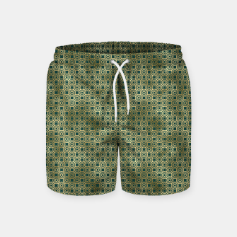 Miniatur Teal and Gold Vintage Circles Pattern Swim Shorts, Live Heroes