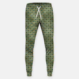 Miniatur Teal and Gold Vintage Circles Pattern Sweatpants, Live Heroes