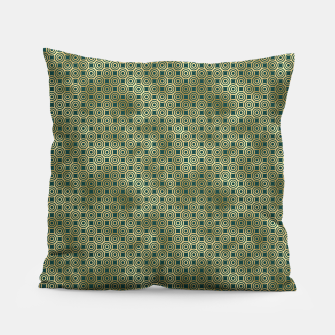 Miniatur Teal and Gold Vintage Circles Pattern Pillow, Live Heroes