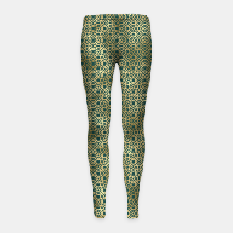 Miniatur Teal and Gold Vintage Circles Pattern Girl's leggings, Live Heroes