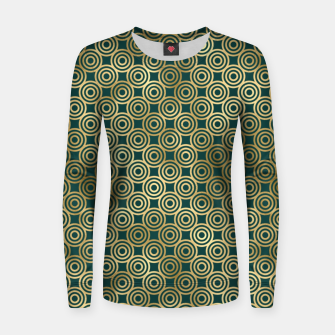 Miniatur Teal and Gold Vintage Circles Pattern Women sweater, Live Heroes