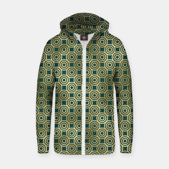 Thumbnail image of Teal and Gold Vintage Circles Pattern Zip up hoodie, Live Heroes