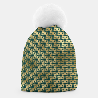 Miniatur Teal and Gold Vintage Circles Pattern Beanie, Live Heroes