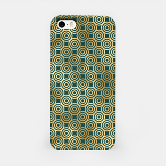 Miniatur Teal and Gold Vintage Circles Pattern iPhone Case, Live Heroes